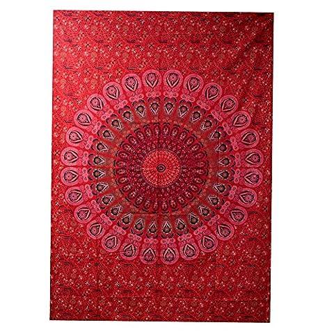2dots 120tc Chilli décoratif ethnique Tapisserie murale à suspendre hippie mandala Bohemian tapisseries Rouge