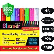 Rotuladores de tiza líquida (punta 3 mm) y 16 - Etiquetas adhesivas de pizarra, color Fantastic Bright Neon Colors - Marcador de tiza para niños, artistas, puntos de menú de Bistro, Cristal, Ventana, Tablas (8 Marcadores - 3.00 mm)