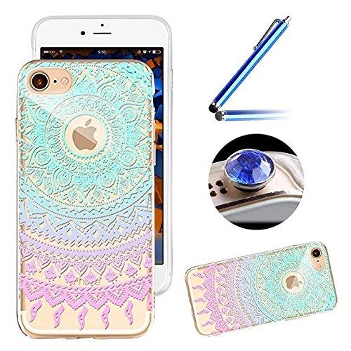 Etsue Silikon Schutz HandyHülle für iPhone 6 Plus/6S Plus (5.5 Zoll) TPU Muster, [Tribal Henna Mandala Blume] Einzigartig Malerei Muster Durchsichtig Silikon Handytasche Ultradünnen Weiche Transparent Mandala Floral,Rosa Blau#