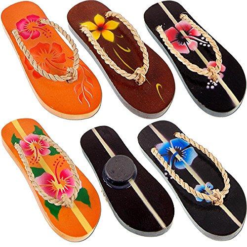 Seestern Sportswear Deko Holz Sandalen Zehentrenner Kühlschrank Magnet 8 cm Airbrush Hibiskusblumen Sandalen 1481-85, 5er Pack