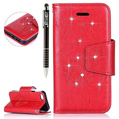 iPhone SE Hülle, iPhone 5S Hülle,SainCat iPhone SE/5S Ledertasche Brieftasche im BookStyle PU Leder Wallet Case Folio Strass Schmetterling Silk Muster Schutzhülle hülle Bumper Handytasche Skin Backcov Löwenzahns Diamant-Rote