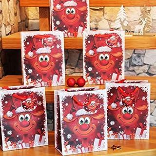 Kamaca 6 er Set LUSTIGES Rentier Geschenktaschen/Geschenktüten Weihnachten mit farblich Passender Kordel und Geschenk - Anhänger (6 x Lustiges Rentier Höhe 24 cm Normal)