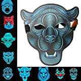 Asdomo Scary LED Halloween Maske, Horror Light Soundaktiviert Cosplay Glowing Maske Kostüm für Halloween Christmas Festival Party Costume Mask, Batterie Angetrieben(Nicht Enthalten)