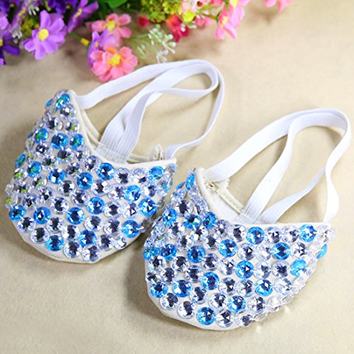 Calcifer® Marke neue Ägyptische Ägypten Belly Dance Schuhe Kostüm Geschenk für Big Party Weihnachten Silver+Lake Blue