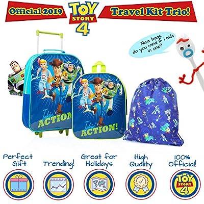 Disney Toy Story 4 Mochilas Escolares Juveniles con Forky, Woody, Buzz Y Bo Peep | Mochila De Cuerda Infantil | Bolsa De Viaje para Niños | Mochila Pequeña Niños | Juego De Viaje De 3 Piezas