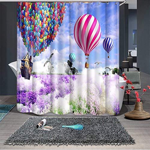hysxm 3D Lavande Romantique Hot Air Balloon Motif Rideaux De Douche Salle De Bains Rideau Épaissir Imperméable À l'eau Épaissie Rideau De Bain-180(H)*180(W) Cm