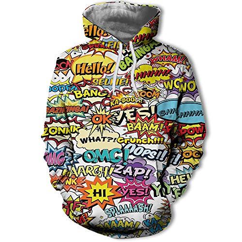 vhidfsjgdsfik Europa und die Vereinigten Staaten lässig Langarm Kapuzen Brief 3D Digitaldruck Pullover Herren Sweatshirt XXL