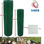"G4RCE® 1"" x 1"" Green PVC Coated Welded Mesh Wire 30m or 45m roll in 2 widths Chicken Rabbit Animal Fence Steel Metal Garden Netting Fencing (1.2M X 30M) 8"