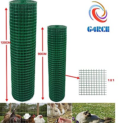 "G4RCE® 1"" x 1"" Green PVC Coated Welded Mesh Wire 30m or 45m roll in 2 widths Chicken Rabbit Animal Fence Steel Metal Garden Netting Fencing (1.2M X 30M) 1"