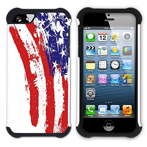 Graphic4You Wehende Fahne Vintage Amerikanisch Vereinigte Staaten Hart + Weiche Kratzfeste Hülle Case Schale Tasche Schutzhülle für Apple iPhone SE / 5 / 5S Design #4