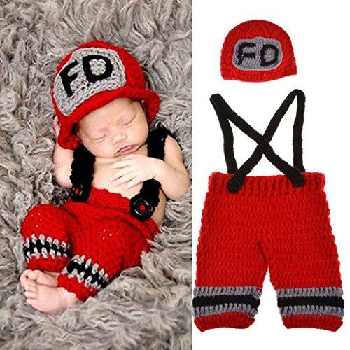 Xurgm Feuerwehrmann Neugeborenen Fotoshooting Kostüm Junge Mädchen Mützen Fotographie Prop Crochet Geschenk Baby Kleidung