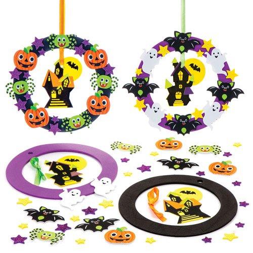 """Bastelsets """"Halloween-Kranz"""" für Kinder als Bastel- und Deko-Idee zum Gestalten zu Halloween für Jungen und Mädchen (2 Stück)"""
