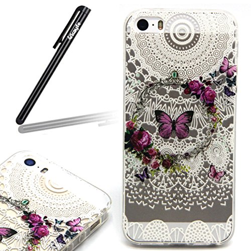 Coque Housse pour iPhone 6, iPhone 6 Silicone Coque Souple Gel Etui, iPhone 6s Transparent Clear Coque Housse, iPhone 6 Portefueille protective Coque, iPhone 6 Soft Silicone Case Slim Cover, Ukayfe Uk Papillon