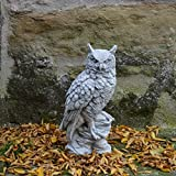 gartendekoparadies.de Lustige Eule UHU Vogel aus Steinguss, frostfest