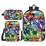BFZHYMX Rucksack für Mädchen Schulbüchertasche 3 Stück Dragon Ball Büchertaschen Wärmeisolierte Lunch-Tasche Mäppchen zum Mädchen Junge,a