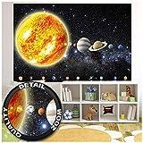 GREAT ART XXL Poster Kinderzimmer - Sonnensystem Planeten - Wandbild Dekoration Galaxie Cosmos Space Universum All Sterne Galaxy Weltraum Earth Wandposter Fotoposter Bild (140 x 100 cm)