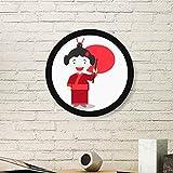 DIYthinker Weiß Rot Japan Cartoon Runde Bilderrahmen Kunstdrucke von Paintings Startseite Wandtattoo Geschenk Medium Schwarz