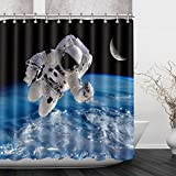 LNAG DuschvorhäNge 3D Digitaldruck Polyester Astronaut , 180*200