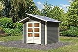 Karibu Gartenhaus GRÖNELO terragrau Gerätehaus 244x244cm 28mm