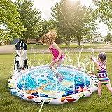Termichy Splash Pad, 59 Zoll Sprinkler und Splash Play Matte, Sommer Garten Wasserspielzeug für Baby, Kinder, Hund und Haustiere (u-Boot)