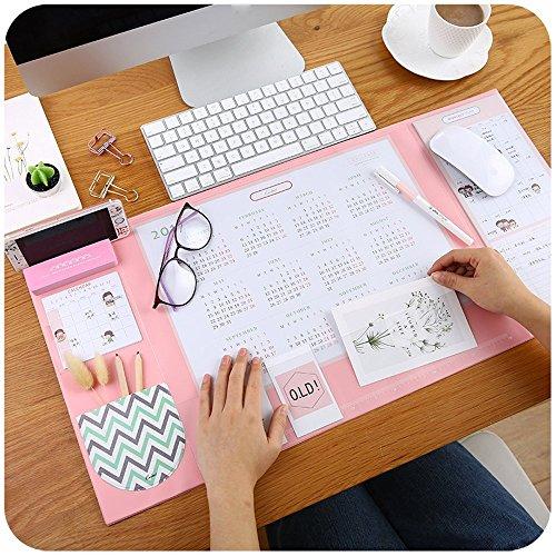 Alfombrilla antideslizante multiuso de PVC para escritorio. estera de escritura del escritorio del uso dual para Office / Home- Con soporte para teléfono, 2019calendario, planning 65 * 32cm (Rosa)
