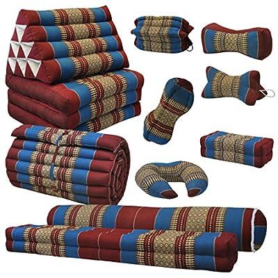 Kapok Thaikissen, Yogakissen, Massagekissen, Kopfkissen, Tantrakissen, Sitzkissen - rot/blau