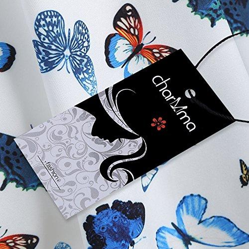 ZAFUL Retro Neckholder ärmellos 1950er Hepburn Kleider Cocktailkleid Rockabilly Swing Kleid Abendkleid Partykleid Vintage Skull Print Dress Blau 2