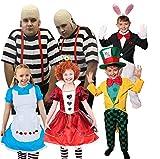 WUNDERLAND VERKLEIDUNGEN =Herz KÖNIGIN + HASE + SÜßE Alice + MAD Hatter + DIE GLATZKÖPFIGEN Zwillinge (Erwachsenen ) KOSTÜM IN 5 VERSCHIEDENEN GRÖSSEN= Zwillinge-Large+Large