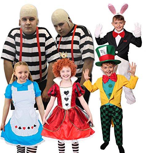 WUNDERLAND VERKLEIDUNGEN =Herz KÖNIGIN + HASE + SÜßE Alice + MAD Hatter + DIE GLATZKÖPFIGEN Zwillinge (Erwachsenen ) KOSTÜM IN 5 VERSCHIEDENEN GRÖSSEN= Zwillinge-XXLarge+XXLarge