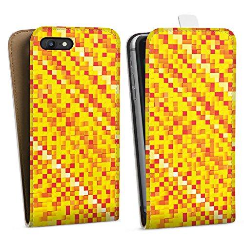 Apple iPhone X Silikon Hülle Case Schutzhülle Muster Pixel Rauten Downflip Tasche weiß