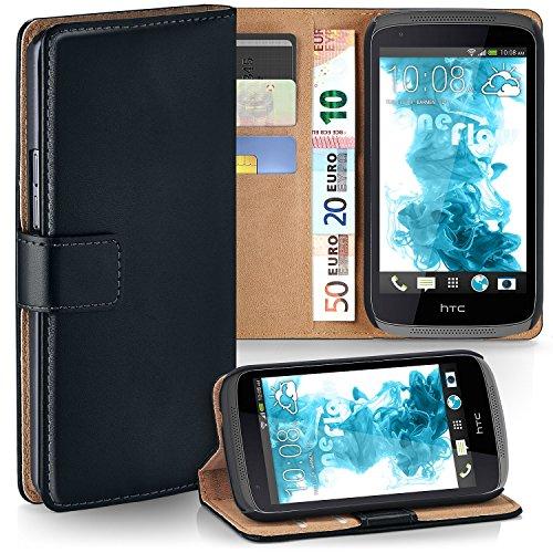HTC Desire 526G Hülle Schwarz mit Karten-Fach [OneFlow 360° Book Klapp-Hülle] Handytasche Kunst-Leder Handyhülle für HTC Desire 526G/526 G Plus Case Flip Cover Schutzhülle Tasche