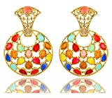 Bling N Beads 18K Yellow Gold Plated Multicolored Earrings Gift For Her Birthday Wedding