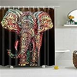 HROOME Vintage 150x180cm 180x180cm Cortinas de ducha elegantes para el cuarto de baño Impresión colorida del elefante con 12 Anillos Impermeable Resistente al Moho (180*180cm, Elephant)