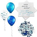 32 servilletas con diseño de pez azul turquesa + 60 unidades de peces de madera + 18 globos, decoración para bautizo, comunió