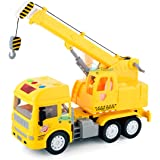 FunBlast Pull Back Friction Powered Crane Toys for Kids - Crane Truck Toys with Light & Sound, Toy for Kids (Yellow)