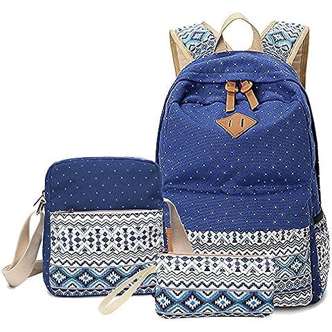 YoungSoul Mochila para la escuela Escolares Bolsa de lona Mochilas tipo casual School Backpack + Bolsa de hombro +