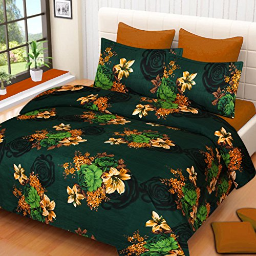 Amayra Home 180 TC Microfibre Double 3D Luxury Bedsheet with 2 Pillow...