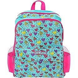 GirlZone REGALO PARA CHICAS: MOCHILA INFANTIL, Bolso escolar para chicas y chicos para colegio. Regalo para niñas de 4 5 6 7 8 9 10 años Corazones Rosa Azul. Equipaje Juvenil. Ideal juguetes.