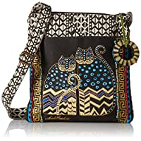 Laurel Burch Spotted Cats Crossbody Tote with 10 x 10-inch Zipper Top and 25-inch Strap