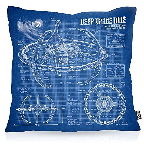 VOID Deep Space Nine Kissenbezug Kissenhülle Outdoor Indoor trek trekkie star, Kissen Größe:80 x 80 cm (Star Trek-kissen)