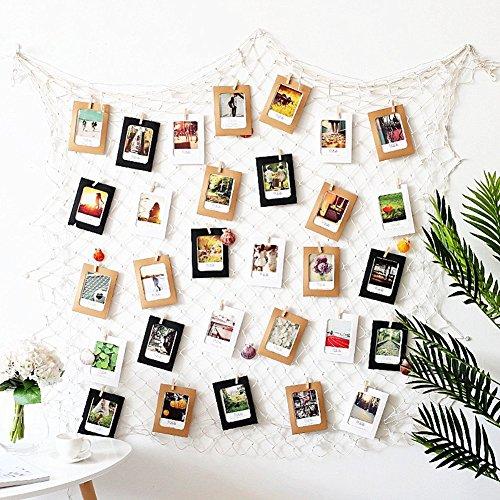 Dremisland Foto hängende Bilderrahmen Collage Fotorahmen Fotogalerie Bildergalerie Fotocollage mit 40 kleinen Holzklammern (Weiß) (Bilderrahmen Machen Sie Ihre Eigenen)
