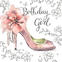Twizler Happy Birthday Card for Her with Shoe, Silver Foiling and Unique Watercolour Effect - Female Birthday Card - Birthday Girl