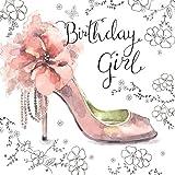 Happy-Birthday-Karte für die Dame mit Silberfolie von Twizler. Einzigartiger Wasserfarben-Effekt mit rosa Schuh auf derBirthday-Girl-Geburtstagskarte