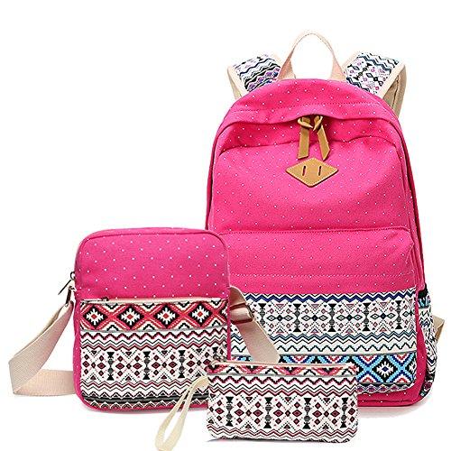 YoungSoul Mädchen Schulrucksack Teenage Rucksack Canvas Laptop Rucksäck für Universität + Umhängetasche + Segeltuch Mäppchen Rose
