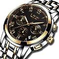 Watches Mens Waterproof Stainless Steel Sport Analogue Quartz Watch Men LIGE Luxury Brand Fashion Round Wrist Watch Man Gold Black Clock