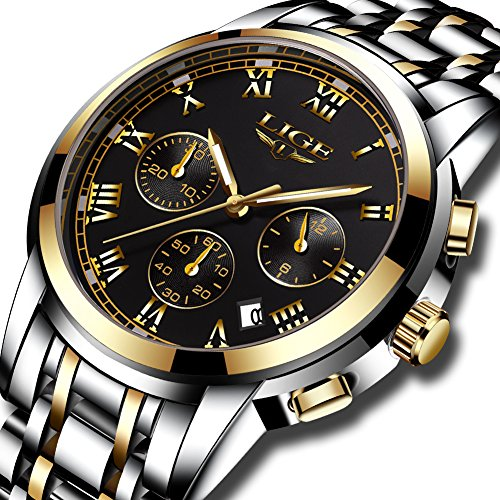 Herren Uhren Wasserdichte Edelstahl Sport Analog Quarzuhr Herren LIGE Luxus Fashion Business Uhr Gold Schwarz Runde Uhr