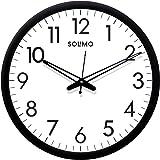 Amazon Brand - Solimo 12-inch Plastic & Glass Wall Clock - Sober (Silent Movement, Black Frame)