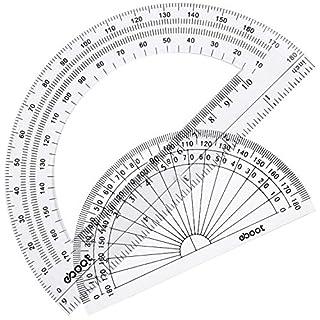 eBoot Winkelmesser Kunststoff Winkelmesser 180Grad, 4Zoll und 6Zoll, Klar, 2Stück