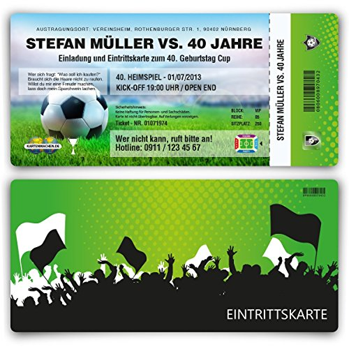Einladungskarten zum Geburtstag (10 Stück) als Fussballticket Karte Ticket Fussball Einladung