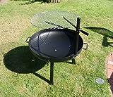 massive 70cm Feuerschale mit Edelstahl Schwenkgrill 60cm + Grillbürste höhenverstellbar Grill